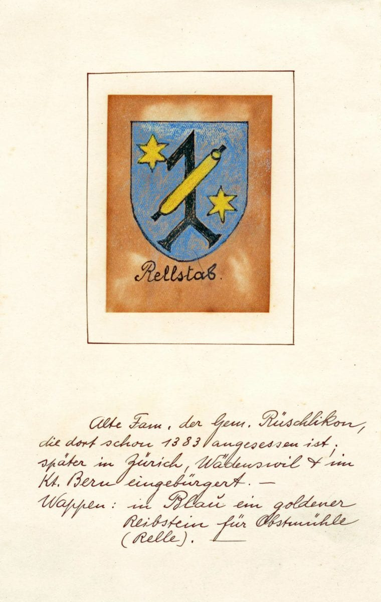 Rellstab code of arms. Can be found in the village archives of Rüschlikon, Switzerland. The text translates to: 'Old family of the village of Rüschlikon, residents since 1383; later citizen in Zurich, Wädenswil and the State of Bern.